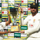 Brendan Taylor and Mominul Haque unveiling the Ispahani Test trophy