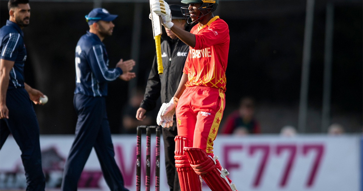 The brilliant Shumba finished with 66 not out off only 29 balls – he hit six sixes and two fours in the bowling his match-winning innings.