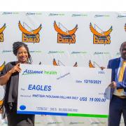Alliance Health general manager Millicent Banda (L) and Eagles general manager Wonder Chisango (R)